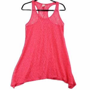 OP Medium hot pink lace racer back cover up